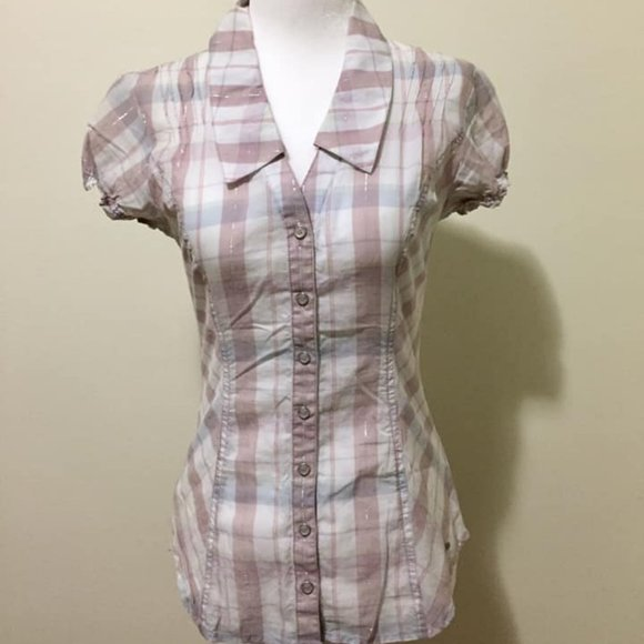 🍒3/$15🍒 Guess Plaid Pastel Shortsleeve Blouse XS